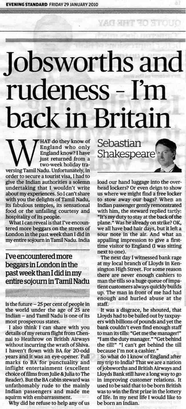 Evening Standard Article